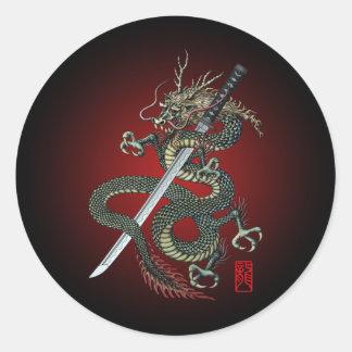 Dragon katana classic round sticker