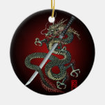 Dragon katana Double-Sided ceramic round christmas ornament