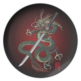 Dragon katana plates
