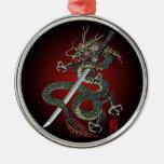 Dragon katana round metal christmas ornament