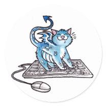Dragon Kitty Classic Round Sticker