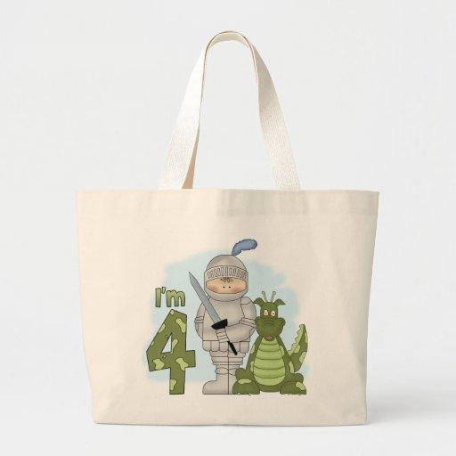 Dragon Knight 4th Birthday Large Tote Bag