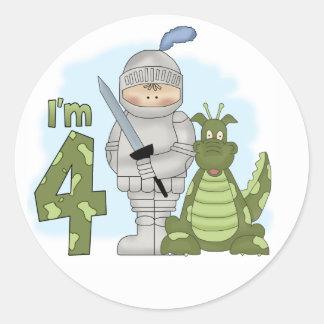 Dragon Knight 4th Birthday Classic Round Sticker