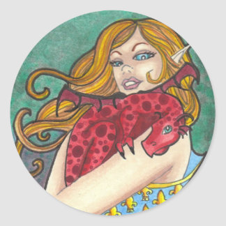 Dragon + Lady fleur de lis fantasy art stickers