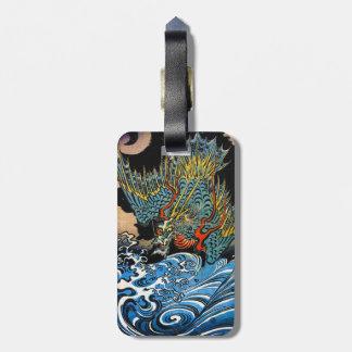 Dragón legendario antiguo japonés oriental fresco etiquetas maleta
