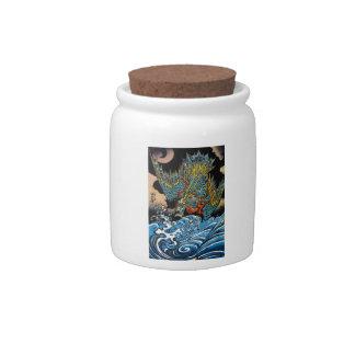 Dragón legendario antiguo japonés oriental fresco jarra para caramelo