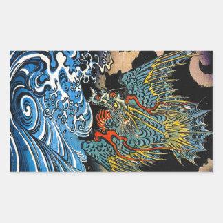 Dragón legendario antiguo japonés oriental fresco pegatina rectangular