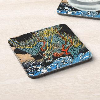Dragón legendario antiguo japonés oriental fresco posavasos de bebidas