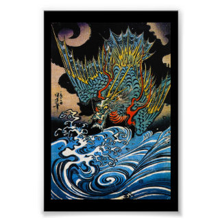 Dragón legendario antiguo japonés oriental fresco póster