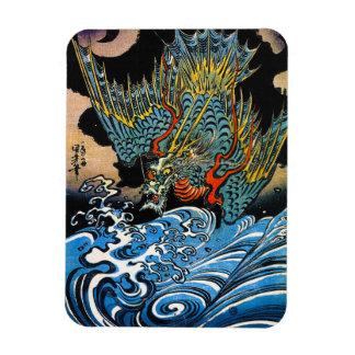Dragón legendario antiguo japonés oriental fresco rectangle magnet