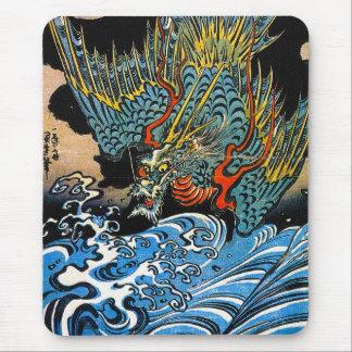 Dragón legendario antiguo japonés oriental fresco tapete de raton