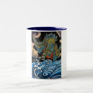 Dragón legendario antiguo japonés oriental fresco taza de café de dos colores