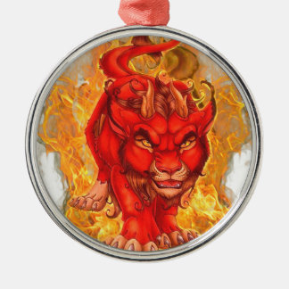 dragón-león adorno navideño redondo de metal