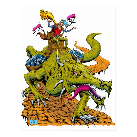 Dragon Library Postcard