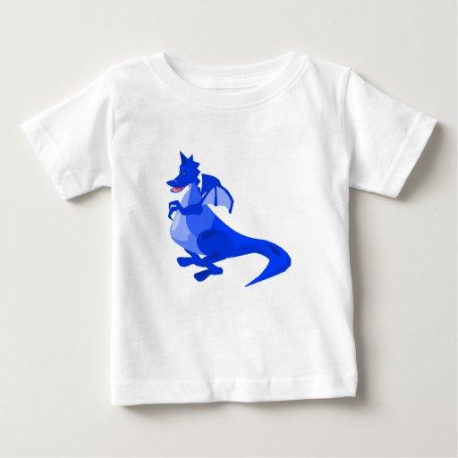 Dragón lindo de la fantasía azul playeras