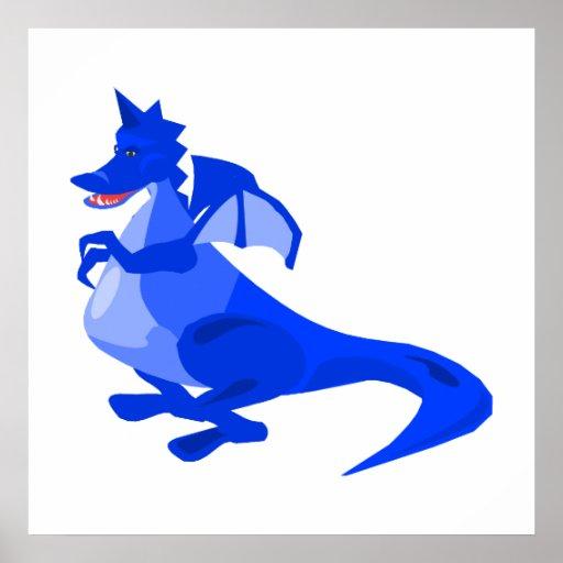 Dragón lindo de la fantasía azul poster