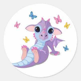 Dragón lindo del bebé pegatina redonda