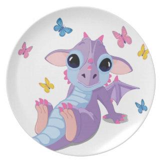 Dragón lindo del bebé plato de comida