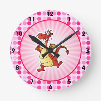 Dragón lindo del dibujo animado relojes de pared