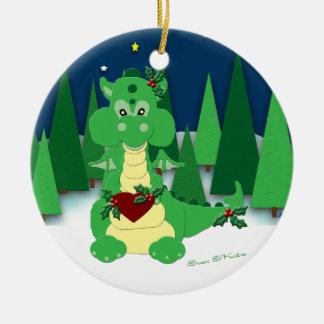 Dragón lindo: El 1r navidad del bebé: 2010 Adorno Redondo De Cerámica