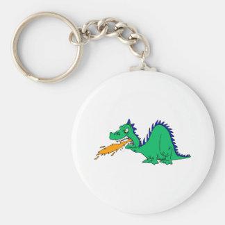 Dragón lindo enojado llavero redondo tipo pin