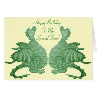 dragón lindo mítico y arte de la criatura de la tarjeta de felicitación