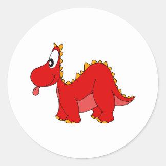 Dragón lindo rojo etiquetas redondas