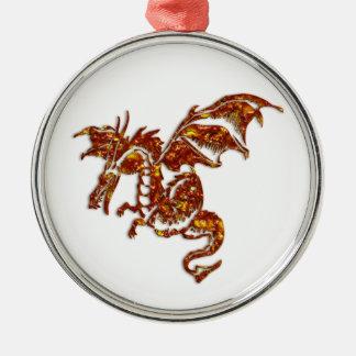 Dragón llameante adorno navideño redondo de metal