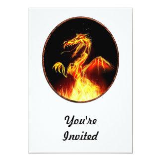 """Dragón llameante invitación 5"""" x 7"""""""