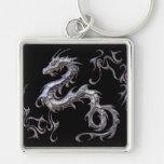 dragón llavero cuadrado plateado