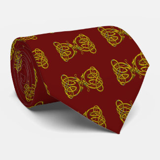 DRAGON LOVE,Gold Celtic Knots,Dragons Red Burgundy Tie