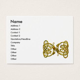 DRAGON LOVE / Gold Celtic Knots White Business Card