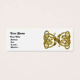 DRAGON LOVE , white blue  yellow Mini Business Card
