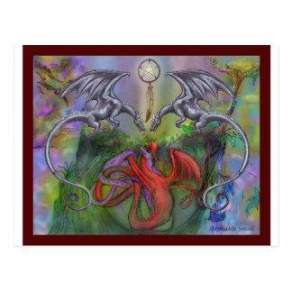 Dragon Lover Pentagram Dreamcatcher Red Black Grey Postcard
