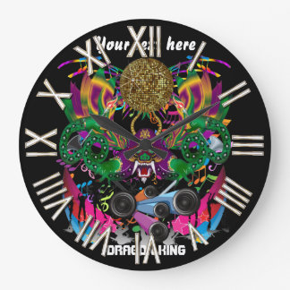 Dragon Mardi Gras King View notes please Large Clock