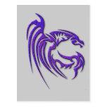 Dragón martillado púrpura metálica del metal tarjeta postal