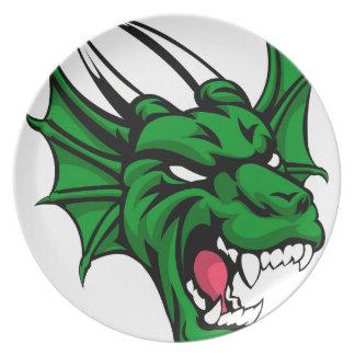 Dragon Mean Animal Mascot Dinner Plate