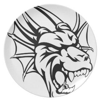 Dragon Mean Animal Mascot Melamine Plate