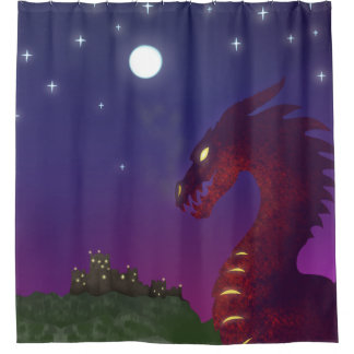 Dragón medieval cortina de baño