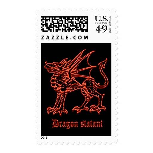 Dragón medieval de la heráldica statant sello