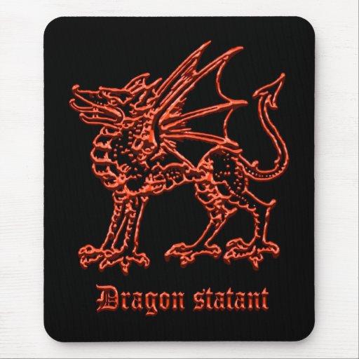 Dragón medieval de la heráldica statant alfombrilla de ratón
