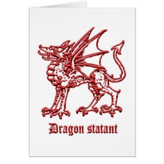 Dragón medieval de la heráldica statant tarjeta de felicitación
