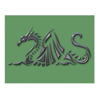 Dragón metálico de plata del mar tarjetas postales