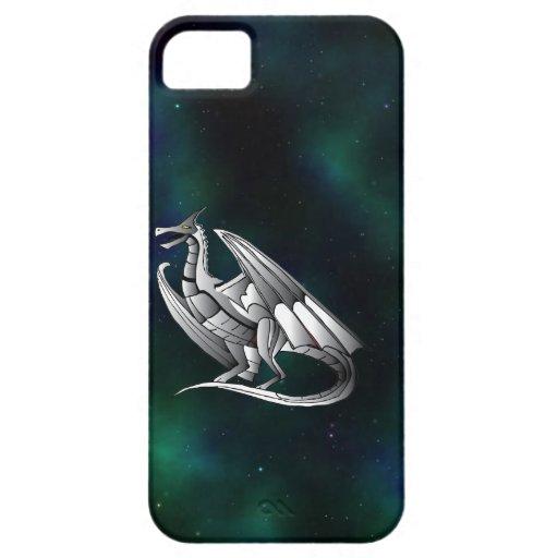 Dragón metálico de plata iPhone 5 Case-Mate protectores