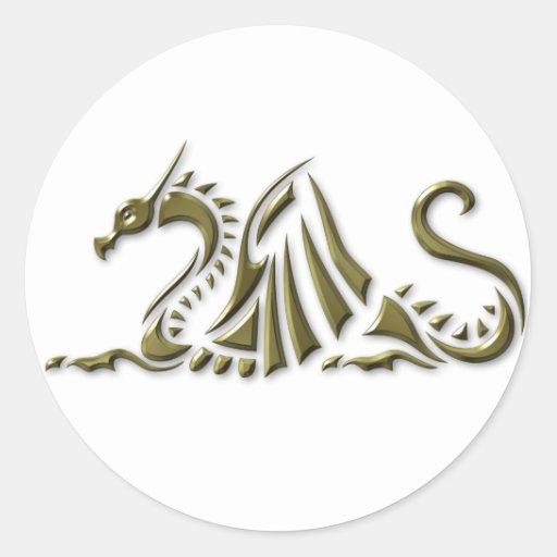 Dragón metálico del oro pegatinas redondas