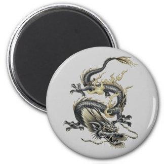 Dragón metálico imán redondo 5 cm