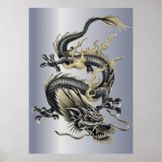 Dragón metálico posters