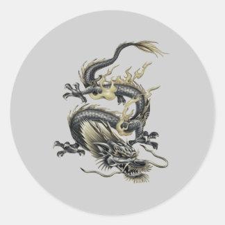 Dragón metálico pegatinas redondas