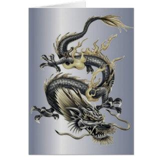 Dragón metálico tarjeta de felicitación