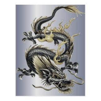 Dragón metálico tarjetas postales
